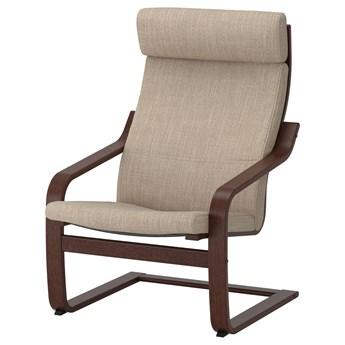 IKEA POÄNG Fotel, brązowy/Hillared beżowy, Szerokość: 68 cm