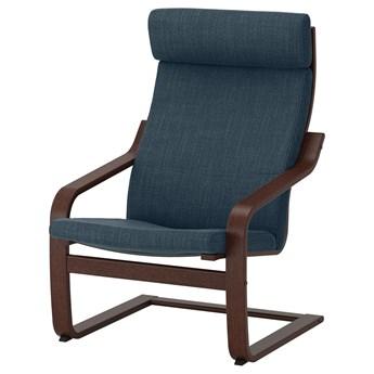IKEA POÄNG Fotel, brązowy/Hillared granatowy, Szerokość: 68 cm