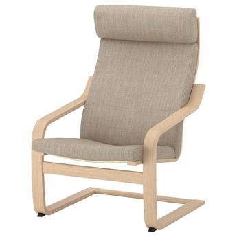 IKEA POÄNG Fotel, okleina dębowa bejcowana na biało/Hillared beżowy, Szerokość: 68 cm