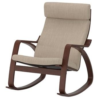IKEA POÄNG Krzesło bujane, brązowy/Hillared beżowy, Szerokość: 68 cm