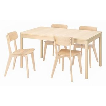 IKEA RÖNNINGE / LISABO Stół i 4 krzesła, brzoza/jesion, 155/210x90x75 cm
