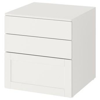 IKEA SMÅSTAD / PLATSA Komoda, 3 szuflady, Biały biały/biała rama, 60x57x63 cm