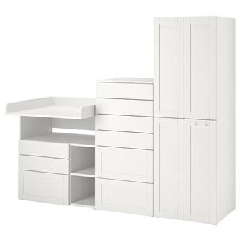 IKEA SMÅSTAD / PLATSA Regał, Biały biała rama/ze stołem do przewijania, 210x79x181 cm