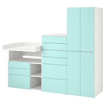 IKEA SMÅSTAD / PLATSA Regał, Biały bladoturkusowy/ze stołem do przewijania, 210x79x181 cm