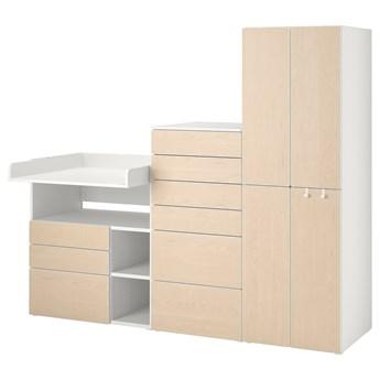 IKEA SMÅSTAD / PLATSA Regał, Biały brzoza/ze stołem do przewijania, 210x79x181 cm