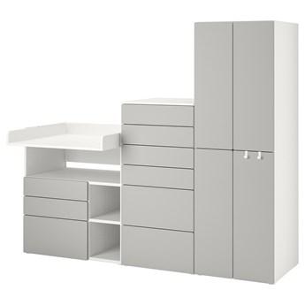 IKEA SMÅSTAD / PLATSA Regał, Biały szary/ze stołem do przewijania, 210x79x181 cm