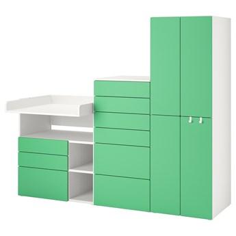 IKEA SMÅSTAD / PLATSA Regał, Biały zielony/ze stołem do przewijania, 210x79x181 cm
