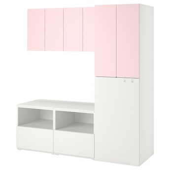 IKEA SMÅSTAD Regał, Biały bladoróżowy/z wysuwaniem, 180x57x196 cm