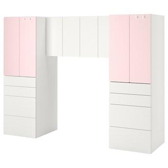 IKEA SMÅSTAD Regał, Biały/bladoróżowy, 240x57x181 cm