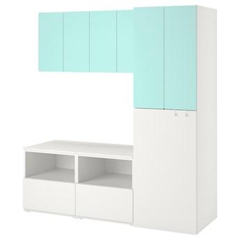 IKEA SMÅSTAD Regał, Biały bladoturkusowy/z wysuwaniem, 180x57x196 cm