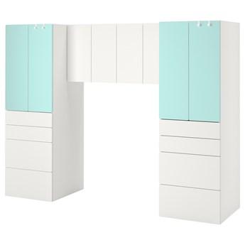 IKEA SMÅSTAD Regał, Biały/bladoturkusowy, 240x57x181 cm