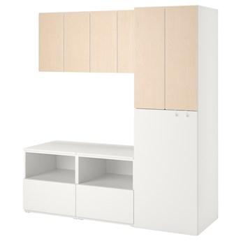 IKEA SMÅSTAD Regał, Biały brzoza/z wysuwaniem, 180x57x196 cm