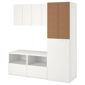 IKEA SMÅSTAD Regał, Biały korek/z wysuwaniem, 180x57x196 cm