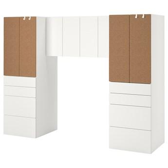 IKEA SMÅSTAD Regał, Biały/korek, 240x57x181 cm