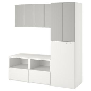 IKEA SMÅSTAD Regał, Biały szary/z wysuwaniem, 180x57x196 cm