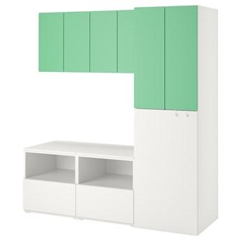 IKEA SMÅSTAD Regał, Biały zielony/z wysuwaniem, 180x57x196 cm