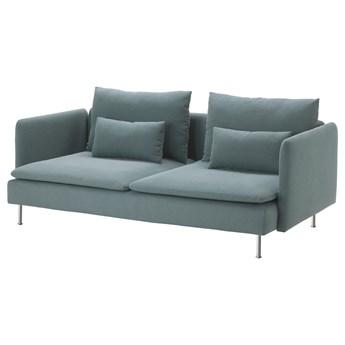 IKEA SÖDERHAMN Sofa 3-osobowa, Finnsta turkusowy, Wysokość z poduchami oparcia: 83 cm