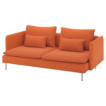 IKEA SÖDERHAMN Sofa 3-osobowa, Samsta pomarańczowy, Wysokość z poduchami oparcia: 83 cm