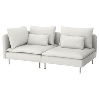 IKEA SÖDERHAMN Sofa 3-osobowa, z otwartym końcem/Finnsta biały, Wysokość z poduchami oparcia: 83 cm