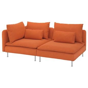 IKEA SÖDERHAMN Sofa 3-osobowa, z otwartym końcem/Samsta pomarańczowy, Wysokość z poduchami oparcia: 83 cm