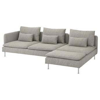 IKEA SÖDERHAMN Sofa 4-osobowa, z szezlongiem i otwarty koniec/Viarp beż/brąz, Wysokość z poduchami oparcia: 83 cm