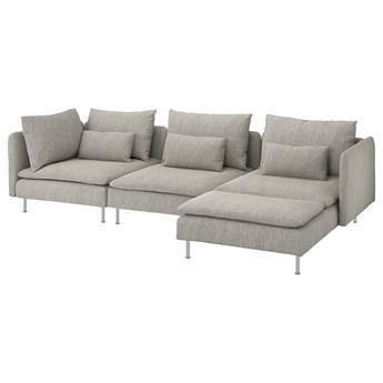 IKEA SÖDERHAMN Sofa 4-osobowa, z szezlongiem/Viarp beż/brąz, Wysokość z poduchami oparcia: 83 cm