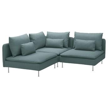 IKEA SÖDERHAMN Sofa narożna 3-osobowa, Finnsta turkusowy, Wysokość z poduchami oparcia: 83 cm