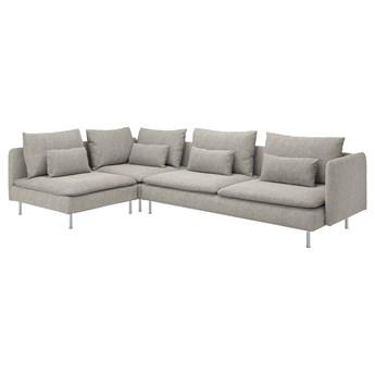 IKEA SÖDERHAMN Sofa narożna 4-osobowa, z otwartym końcem/Viarp beż/brąz, Wysokość z poduchami oparcia: 83 cm