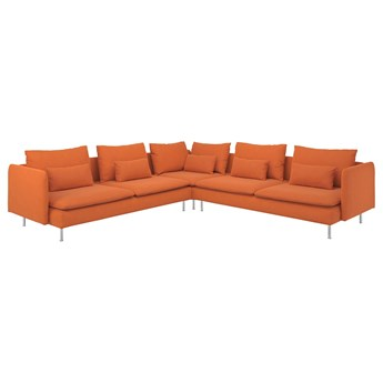IKEA SÖDERHAMN Sofa narożna, 6-osobowa, Samsta pomarańczowy, Wysokość z poduchami oparcia: 83 cm