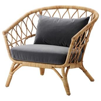 IKEA STOCKHOLM 2017 Fotel z poduszką, rattan/Sandbacka ciemnoszary, Szerokość: 87 cm