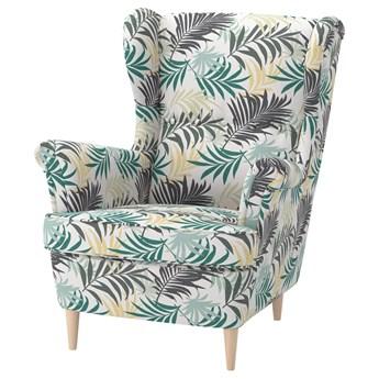 IKEA STRANDMON Fotel uszak, Gillhov wielobarwny, Szerokość: 82 cm