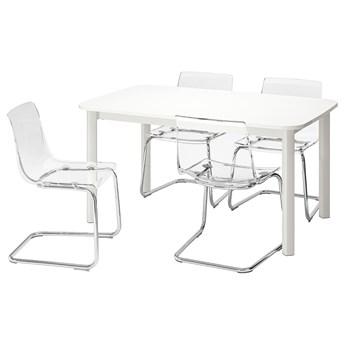 IKEA STRANDTORP / TOBIAS Stół i 4 krzesła, biały/przezroczysty, 150/205/260x95 cm