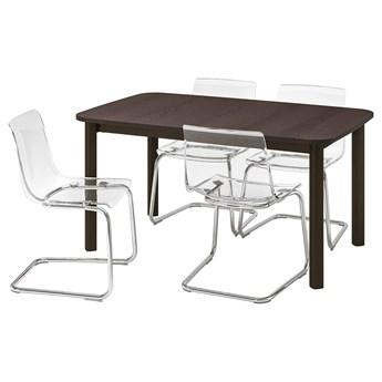 IKEA STRANDTORP / TOBIAS Stół i 4 krzesła, brązowy/przezroczysty, 150/205/260x95 cm