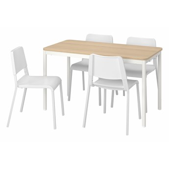 IKEA TOMMARYD / TEODORES Stół i 4 krzesła, dąb biały/biały, 130x70 cm