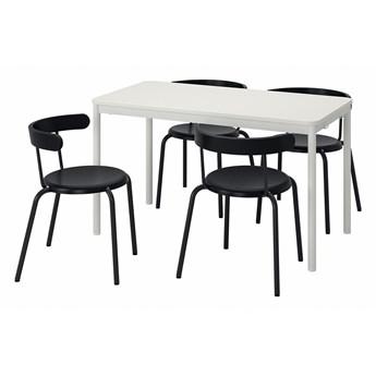 IKEA TOMMARYD / YNGVAR Stół i 4 krzesła, biały/antracyt, 130x70 cm