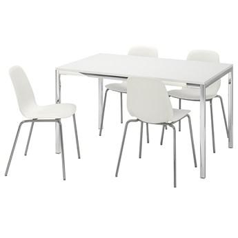 IKEA TORSBY / LEIFARNE Stół i 4 krzesła, połysk biały/biały, 135 cm