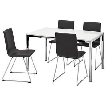 IKEA TORSBY / VOLFGANG Stół i 4 krzesła, połysk biały/Bomstad czarny, Długość stołu: 135 cm