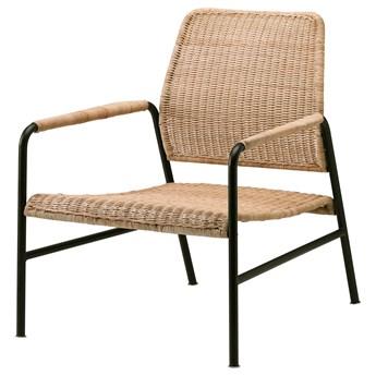 IKEA ULRIKSBERG Fotel, rattan/antracyt, Wysokość oparcia: 76 cm