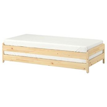 IKEA UTÅKER Łóżko sztaplowane z 2 materacami, sosna/Moshult twardy, 80x200 cm