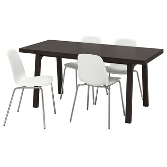 IKEA VÄSTANBY/VÄSTANÅ / LEIFARNE Stół i 4 krzesła, ciemnobrązowy/biały, 170 cm