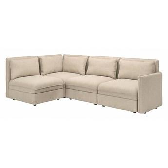 IKEA VALLENTUNA Modułowa sofa narożna 3 osobowa, z pojemnikiem/Hillared beżowy, Głębokość: 93 cm