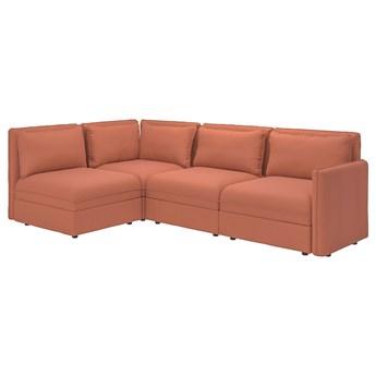IKEA VALLENTUNA Modułowa sofa narożna 3 osobowa, z pojemnikiem/Kelinge rdzawy, Głębokość: 93 cm