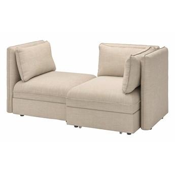 IKEA VALLENTUNA Rozkładana sofa modułowa, 2-osobowa, i pojemnik/Hillared beżowy, Szerokość: 186 cm