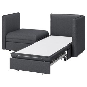 IKEA VALLENTUNA Rozkładana sofa modułowa, 2-osobowa, i pojemnik/Hillared ciemnoszary, Długość łóżka: 200 cm