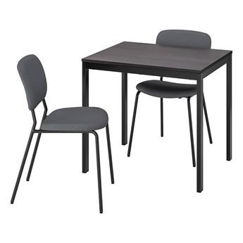 IKEA VANGSTA / KARLJAN Stół i 2 krzesła, czarny ciemnobrązowy/Kabusa ciemnoszary, 80/120 cm