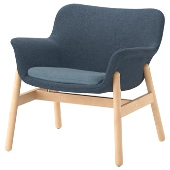 IKEA VEDBO Fotel, Gunnared niebieski, Wysokość z poduchami oparcia: 75 cm