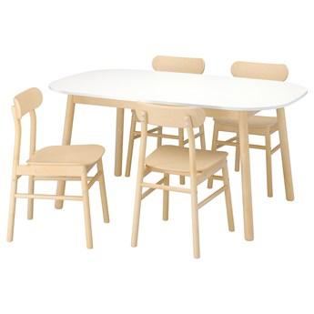 IKEA VEDBO / RÖNNINGE Stół i 4 krzesła, biały/brzoza, 160x95 cm
