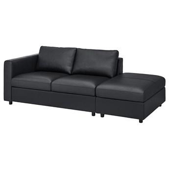 IKEA VIMLE Sofa 3-osobowa, z otwartym końcem/Grann/Bomstad czarny, Wysokość z poduchami oparcia: 80 cm