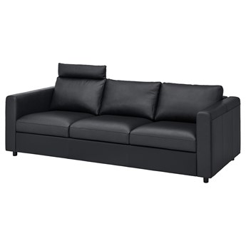 IKEA VIMLE Sofa 3-osobowa, z zagłówkiem/Grann/Bomstad czarny, Wysokość z zagłówkiem: 100 cm