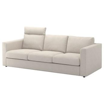 IKEA VIMLE Sofa 3-osobowa, z zagłówkiem/Gunnared beżowy, Wysokość z zagłówkiem: 103 cm